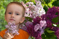 Boy with a bouquet of lilacs Stock Photos