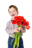Boy with bouquet of tulips Royalty Free Stock Images