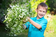A boy with a bouquet of wildflowers. European appearance boy in blue polo with a bouquet outdoors stock photos