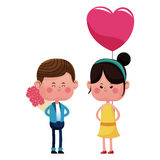 Boy with bouquetflowers and girl heart balloon Royalty Free Stock Image