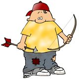 Boy With A Bow And Arrow. This illustration depicts a boy holding a bow and arrow Royalty Free Stock Image