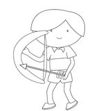Boy with a bow and arrow coloring page Royalty Free Stock Photography