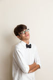 Boy with bow tie jokes Stock Images