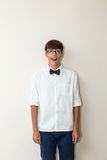 Boy with bow tie jokes Stock Photos