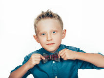 Boy with bow tie portrait Stock Image
