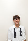 Boy with bow tie undone Royalty Free Stock Photo