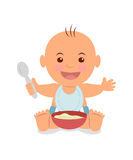 Boy with a bowl of porridge. Stock Images