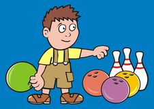 Boy and bowling ball and pins, vector icon for sport game tournament Royalty Free Stock Image