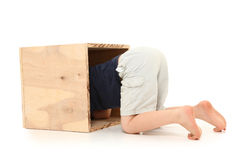Boy in Box Royalty Free Stock Photos