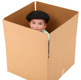 Boy in a Box Royalty Free Stock Photography