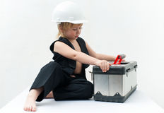 Boy with box Royalty Free Stock Image