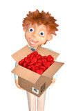 Boy with the box of candies to the Valentine's day Royalty Free Stock Image