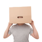 Boy with a box on a head Stock Images
