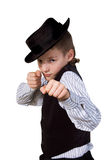 A boy is a boxer. On a white background Royalty Free Stock Image