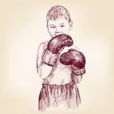 Boy boxer  - hand drawn vector llustration Stock Photo