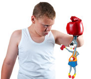 Boy boxer keeps funny. Rabbit by the ears Stock Photo