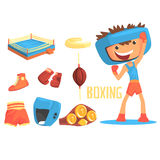 Boy Boxer, Kids Future Dream Professional Boxing Sportive Career Illustration With Related To Profession Objects Stock Photos