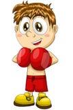 Boy boxer sportsman character cartoon style  illustration Stock Image