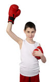 Boy boxer winner Stock Photo
