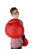 Boy in boxing gloves with focus on glove Royalty Free Stock Images