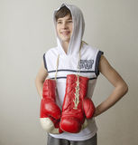 Boy with boxing gloves Royalty Free Stock Photography