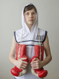 Boy with boxing gloves Royalty Free Stock Photo