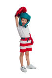 Boy in boxing outfit. Little boy in boxing gloves and hat laughs on a white background Stock Photography