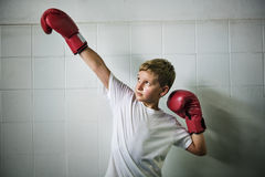 Boy Boxing Victory Confidence Posing Winning Concept.  Stock Photo
