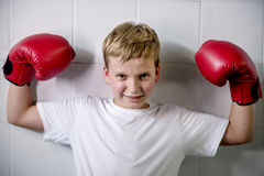 Boy Boxing Victory Confidence Posing Winning Concept Stock Photography