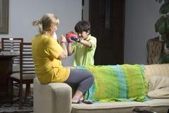 Boy Boxing Woman - Horizontal Stock Images