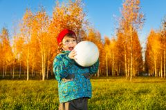 Boy with boy in autumn park Royalty Free Stock Images