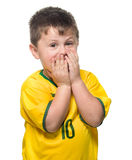 Boy Brazilian fans Royalty Free Stock Images