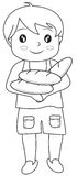 Boy with bread coloring page. Useful as coloring book for kids vector illustration