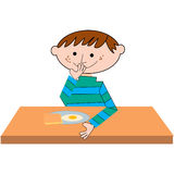Boy breakfast. A illustration of a boy sitting on a table eating breakfast Stock Photography