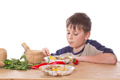 Boy breakfast Royalty Free Stock Photography