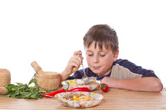 Boy breakfast Stock Photography