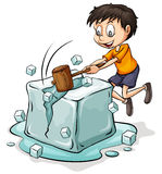 Boy breaking the icecube Stock Photo