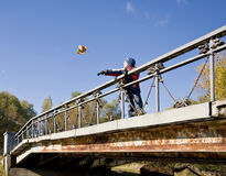Boy on bridge Royalty Free Stock Photo