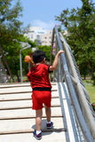 little boy on bridge Royalty Free Stock Images