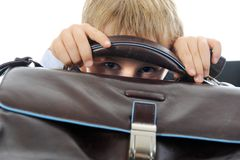 Boy with a briefcase Stock Photography