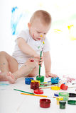 Boy with bright colors Royalty Free Stock Images