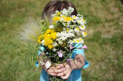 Boy bringning flowers Royalty Free Stock Photos