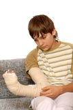Boy with broken arm Stock Images