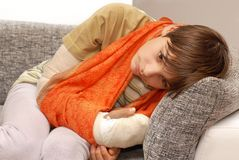 Boy with broken arm Stock Photography