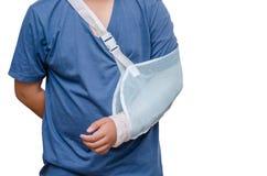 Boy with broken arm over white Stock Photos