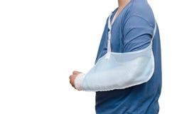Boy with broken arm over white. Asian boy with broken arm over white background royalty free stock photos