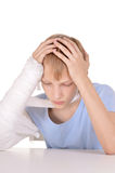 Boy with a broken arm Royalty Free Stock Images