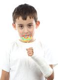 Boy with broken hand in cast Royalty Free Stock Photos