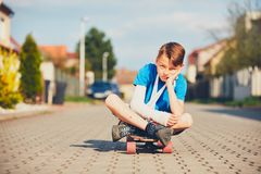 Boy with broken hand Royalty Free Stock Images