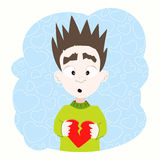 Boy with broken heart in his hands Stock Photography